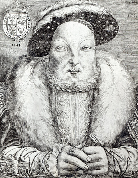 Portrait of Henry VIII, 1548 (engraving) (b/w photo)